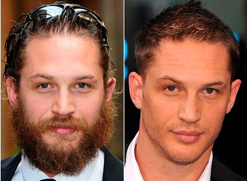 Том Харди с бородой и без